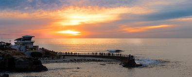 Sunset at the La Jolla cove, San Diego, California Stock Images