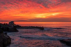 Sunset at the La Jolla cove, San Diego, California Royalty Free Stock Images