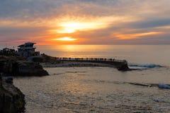 Sunset at the La Jolla cove, San Diego, California Stock Photography