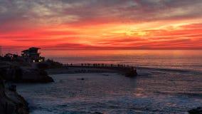 Sunset at the La Jolla cove, San Diego, California royalty free stock image