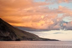 Sunset in La Palma. Sunset seen from El Remo, La Palma, canary islands, spain Stock Photo