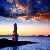 Sunset from La Savina lighthouse in Formentera royalty free stock image