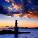 Sunset from La Savina lighthouse in Formentera Stock Image