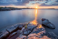 Sunset at Ladoga Lake in Karelia, Russia Stock Images