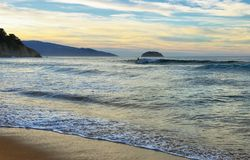Sunset in Laga beach, Basque country, spain. royalty free stock photo