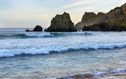 Sunset in Laga beach, Basque country, spain. stock images