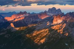 Sunset in the Dolomites stock photos