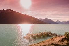 Sunset at Lago Argentina nearby glacier Perito Moreno in Patagonia. South America, Autumn royalty free stock photos