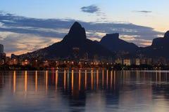 Sunset Lagoon (lagoa) mountain Rio de Janeiro Royalty Free Stock Images