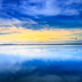 Sunset lagoon landscape. Orbetello, Monte Argentario, Tuscany Italy. Royalty Free Stock Photos
