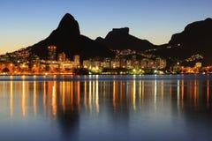 Sunset Lagoon Rodrigo de Freitas (Lagoa), mountain, Rio de Janei Stock Image