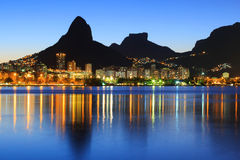 Sunset Lagoon Rodrigo de Freitas (Lagoa), mountain, Rio de Janei. Sunset Lagoon Rodrigo de Freitas (Lagoa), mountain Two brothers, Stone of Gavea, Rio de Janeiro Royalty Free Stock Photo