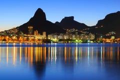 Sunset Lagoon Rodrigo de Freitas (Lagoa), mountain, Rio de Janei Royalty Free Stock Photo