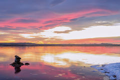 Sunset on the lagoon rose Torrevieja Royalty Free Stock Photo