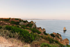 Sunset in Lagos, Portugal. Cliffs and sunset in Portugal, Lagos Royalty Free Stock Images