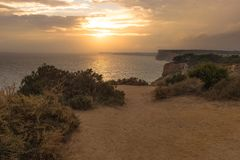 Sunset in Lagos, Portugal stock images