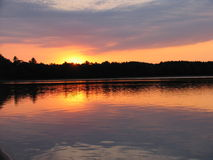 Sunset on Lake. Sunset over Crystal Lake in Northern Wisconsin Royalty Free Stock Images