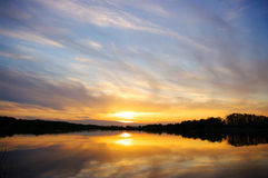 Sunset of the lake Royalty Free Stock Photo