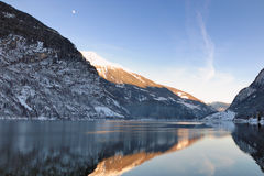 Sunset on the lake. Lake view at sunset in the Alps between Switzerland and Italy Stock Photo