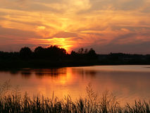Sunset by the lake Royalty Free Stock Photography