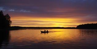 Sunset at lake stock image