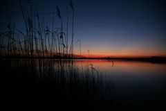 Sunset at the lake Stock Photography