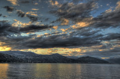 Sunset on the lake. Colorful sunset on Lake Maggiore, Piedmont - Italy royalty free stock photos
