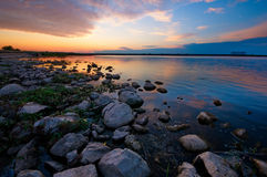 Sunset by the lake. In Siemianowka, Poland royalty free stock photo
