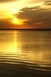 Sunset on lake. Late summer evening on lake Royalty Free Stock Photography