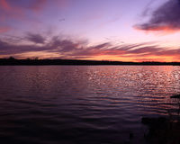 Sunset at Lake 33-2. Cloudy sunset across Lake 33 at Busch Wildlife Royalty Free Stock Photo