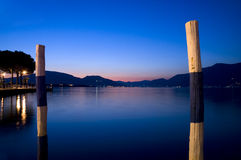 Sunset on the lake. Sunset on the Iseo lake in Italy Royalty Free Stock Photos