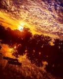 Sunset. At the lake Stock Photos