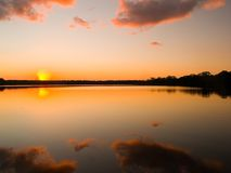 Sunset on the lake Stock Photo