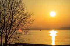 Sunset beside the lake Royalty Free Stock Photography
