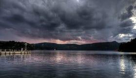 Sunset on lake ashi, japan. Evening in Hakone, ashi lake, Japan temple romantic scene stock image