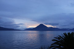 Sunset on Lake Atitlan in Guatemala Royalty Free Stock Image