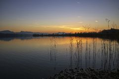 Sunset on the lake in Austria stock photo