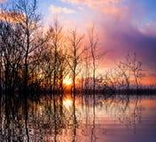 Sunset lake background Stock Photo