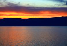Sunset. Lake Baikal. Royalty Free Stock Photo