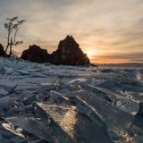 Sunset on Lake Baikal. Burkhan Cape, Olkhon island, Lake Baikal, Stock Photography