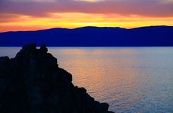 Sunset. Lake Baikal. Olkhon island. Stock Images