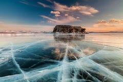 Sunset at Lake Baikal in winter. Siberia, Russia Royalty Free Stock Image