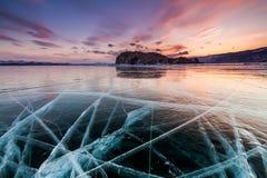 Sunset at Lake Baikal in winter. Siberia, Russia Royalty Free Stock Photos