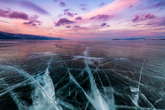 Sunset at Lake Baikal in winter. Siberia, Russia Royalty Free Stock Images