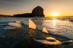 Sunset at Lake Baikal in winter. Siberia, Russia Stock Image