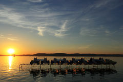Sunset at Lake Balaton Royalty Free Stock Images