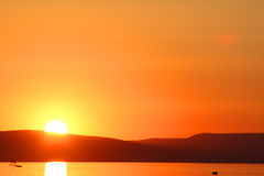 Sunset at Lake Balaton Royalty Free Stock Image