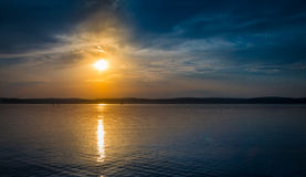 Sunset at lake Balaton. Beautiful sunset at lake Balaton with some boat Stock Photo