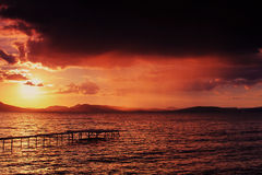 Sunset at Lake Balaton Stock Photography