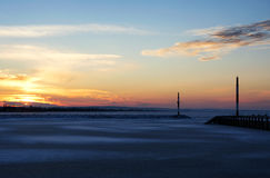 Sunset at Lake Balaton in winter time Stock Photography